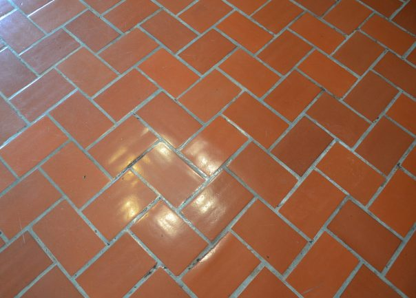 Brown brick floor